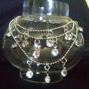 Jewelry - Bling Triple Strand Rhinstones Ankle Bracelet